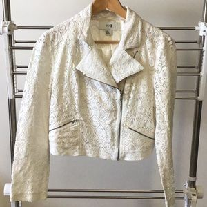 XX1 cream lined lace crop jacket.